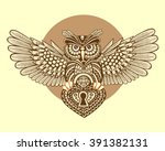 steampunk owl with spread wings ... | Shutterstock .eps vector #391382131