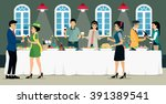 party with food and wine on the ...   Shutterstock .eps vector #391389541