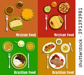 mexican and brazilian cuisine... | Shutterstock .eps vector #391393981