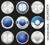 collection of silver and blue... | Shutterstock .eps vector #391395379