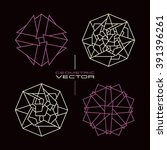 set of vector geometric pattern ... | Shutterstock .eps vector #391396261