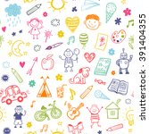 seamless pattern with doodle... | Shutterstock .eps vector #391404355