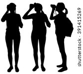 set of three silhouettes   girl ... | Shutterstock .eps vector #391415269