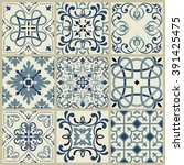 collection of 9 ceramic tiles... | Shutterstock .eps vector #391425475