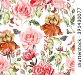 pattern with watercolor... | Shutterstock . vector #391430077