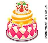 bright birthday cake covered...   Shutterstock .eps vector #391436221