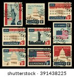 set of stamps with the image of ... | Shutterstock .eps vector #391438225