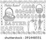 Easter Symbols Doodle Vector...