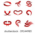 set of red isolated arrow icons ... | Shutterstock . vector #39144985