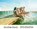 group of happy young woman feet ... | Shutterstock . vector #391456354