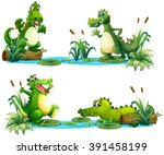 crocodiles living in the pond... | Shutterstock .eps vector #391458199