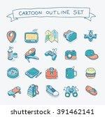 vector cartoon style outline... | Shutterstock .eps vector #391462141