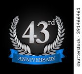 43rd anniversary logo with blue ... | Shutterstock .eps vector #391466461