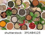 herb and spice selection used... | Shutterstock . vector #391484125