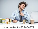 tired manager   modern... | Shutterstock . vector #391486279