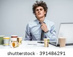 tired student. overwhelmed man... | Shutterstock . vector #391486291