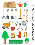 garden tools and farming... | Shutterstock .eps vector #391487671