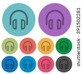 color headset flat icon set on...