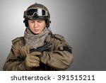 young man in military uniform... | Shutterstock . vector #391515211