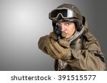soldier pointing gun at you | Shutterstock . vector #391515577