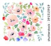watercolor floral composition.... | Shutterstock . vector #391515919
