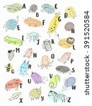 cute alphabet. letters and... | Shutterstock .eps vector #391520584