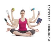 multi tasking woman portrait in ... | Shutterstock . vector #391521571
