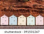 Beach Hut Row In Pastel Colors...
