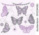 purple and grey butterfly... | Shutterstock .eps vector #391534381