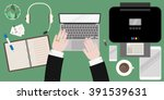 workspace office with male top... | Shutterstock .eps vector #391539631