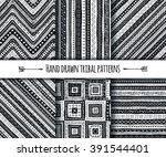 set of vector tribal aztec hand ... | Shutterstock .eps vector #391544401
