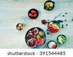 cooking fruit salad  rainbow... | Shutterstock . vector #391544485