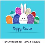 happy easter greeting card or... | Shutterstock .eps vector #391545301