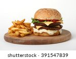 burger double beef    american...   Shutterstock . vector #391547839