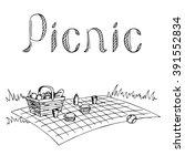 picnic graphic art black white... | Shutterstock .eps vector #391552834