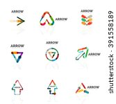 set of linear arrow abstract... | Shutterstock .eps vector #391558189