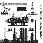 set of oil and gas industry... | Shutterstock .eps vector #391558414