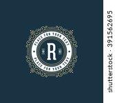 stylish monogram with letter r. ... | Shutterstock .eps vector #391562695
