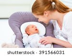 happy family. mother plays and... | Shutterstock . vector #391566031