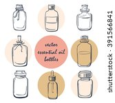 vector set of doodle bottles... | Shutterstock .eps vector #391566841