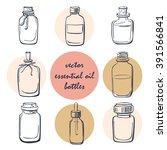 vector set of doodle bottles... | Shutterstock .eps vector #391566841