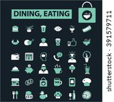 dining  eating icons  | Shutterstock .eps vector #391579711