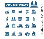 city buildings icons  | Shutterstock .eps vector #391581277