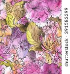 seamless floral pattern with... | Shutterstock . vector #391583299