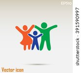 happy family icon in simple... | Shutterstock .eps vector #391590997