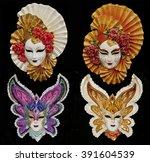 Set Of Four Venetian Carnival...