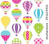 hot air balloons pattern | Shutterstock .eps vector #391619431