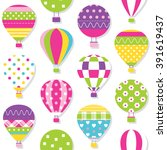 hot air balloons pattern | Shutterstock .eps vector #391619437