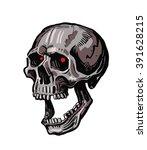 vector black skull icon on... | Shutterstock .eps vector #391628215