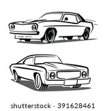 vector black muscle car icon on ... | Shutterstock .eps vector #391628461